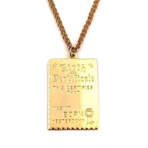 Jewelry - Vintage Birth Certificate Necklace Gold Engravable
